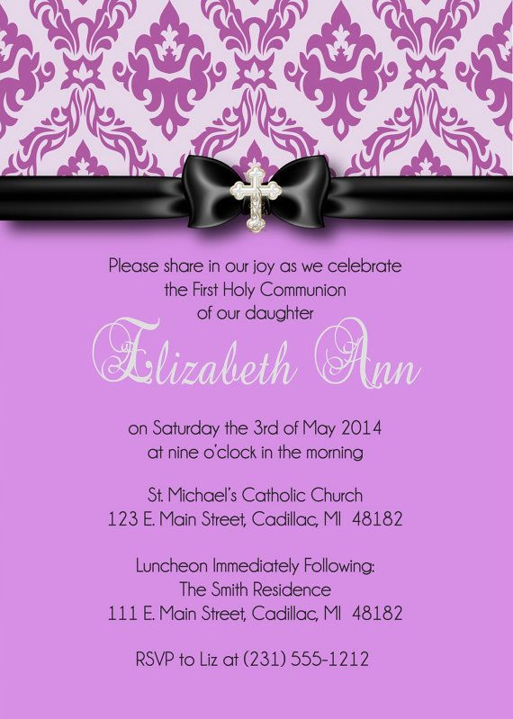 Lavender Damask First Communion Invitation  by FabPartyPrints