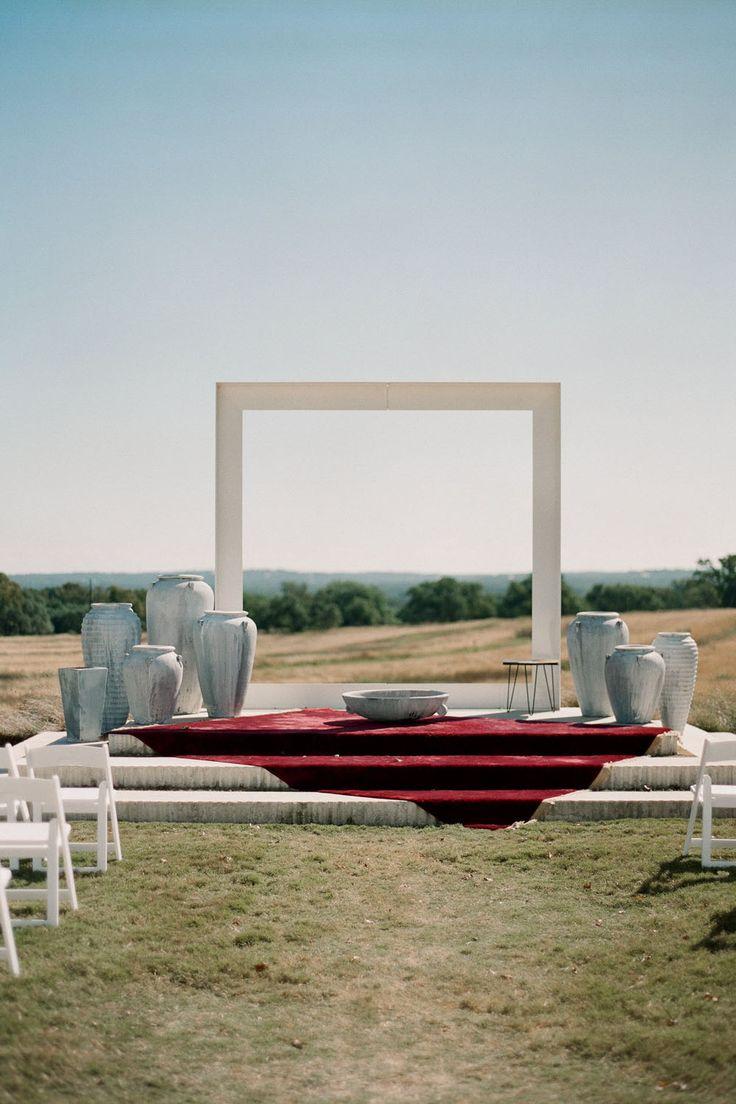 minimalistic backdrop for this Modern Monochromatic Wedding