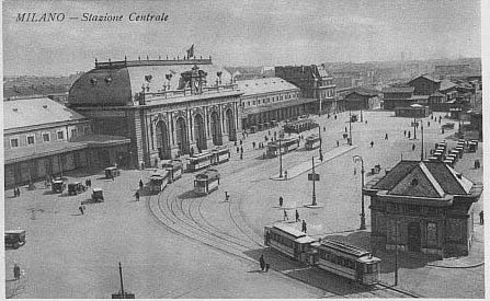 Old Milan Central Station in a postcard