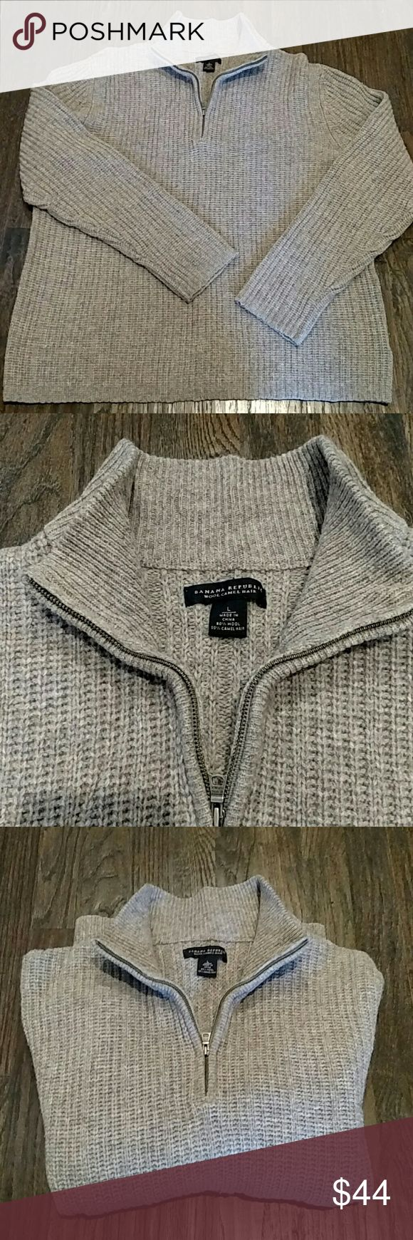"""Banana Republic men's sweater wool camel hair L Used but still got use in it.  50% wool and camel hair.  Zip up collar.  I'd call it a brown cream color.  It is slightly short on the length, so if you wear large but don't have a long body, this is great.  From mid shoulder to bottom is 26.5"""" long. Banana Republic Sweaters Zip Up"""