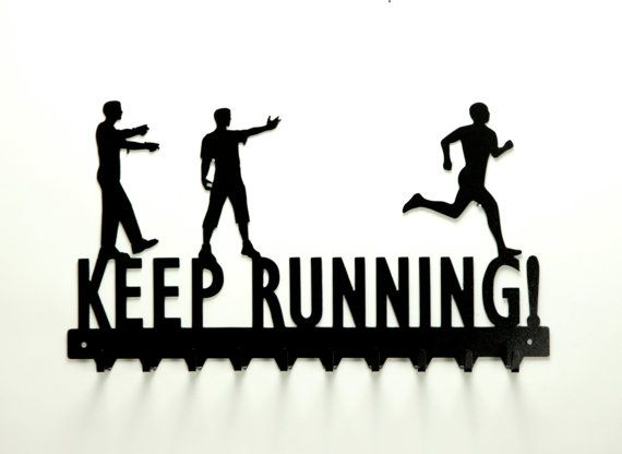 Keep Running Zombies and Running Man Medals Rack