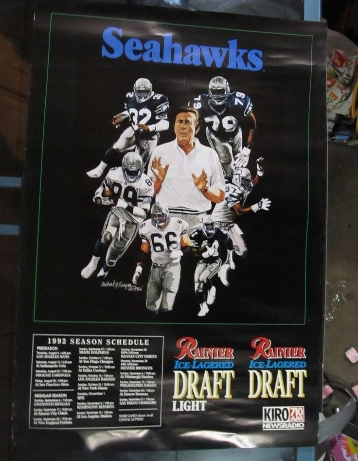 VINTAGE SEATTLE SEAHAWKS 1992 SCHEDULE POSTER RAINIER BEER KIRO RADIO FOOTBALL