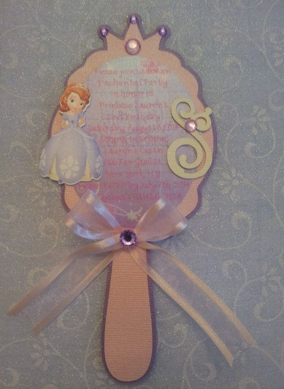 Sofia the First Mirror Invitation by CreativeMoments4You on Etsy