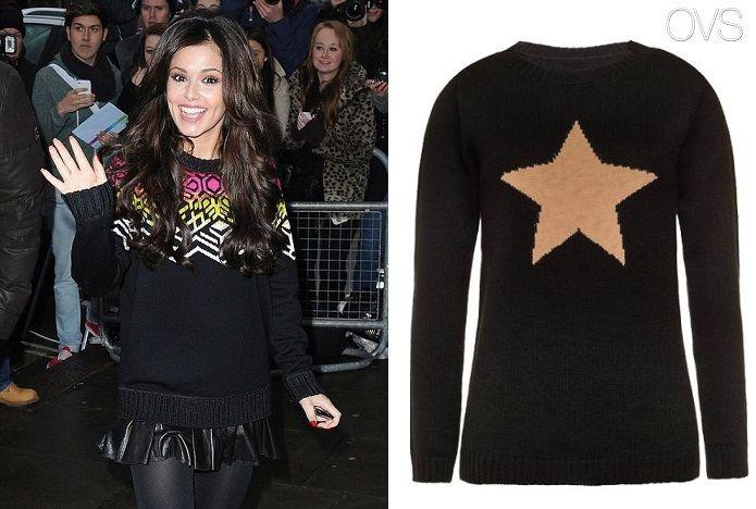Певица Шерил Коул отправилась в студию BBC в Лондоне в теплом свитере с лаконичным рисунком на черном фоне, который  подчеркнул красоту девушки.
