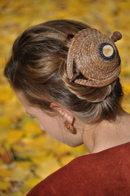 Hair Basket from Renee Rutherfords Pine Needle Jewelry Collection