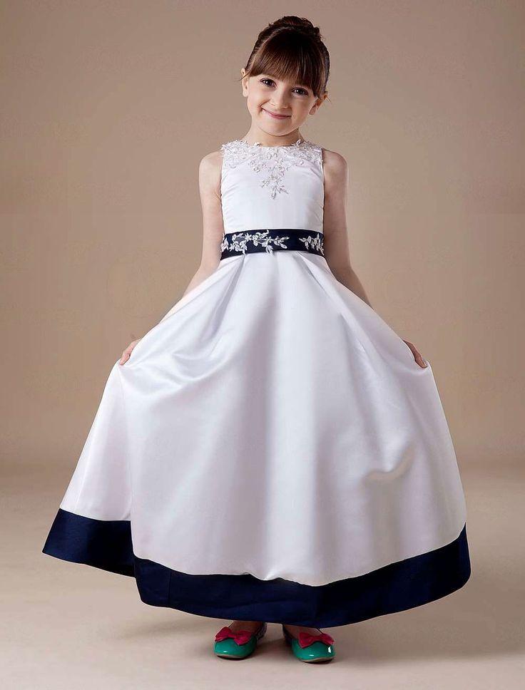 White Sleeveless Embroidery Satin Flower Girl Dress - Party Dresses
