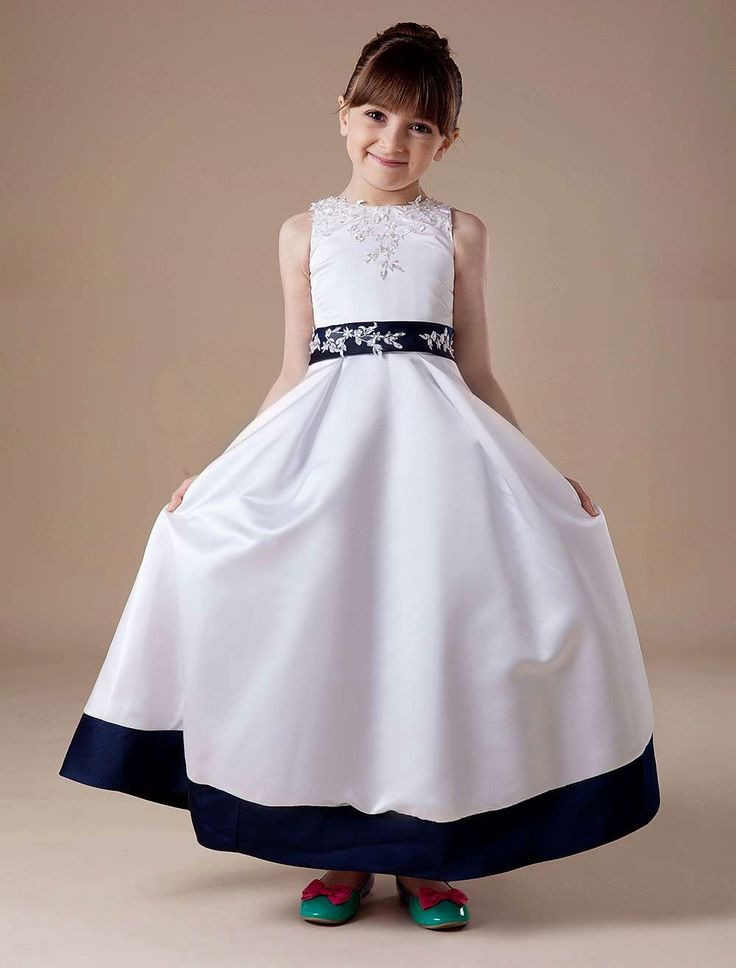 White Sleeveless Embroidery Satin Flower Girl Dress - Party Dresses