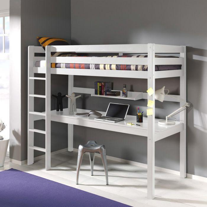 Lit Mezzanine En Bois Pin Blanc 90x200cm Avec Bureau Integre Pino Bureau Sous Le Lit Idees De Lit Lit Mezzanine