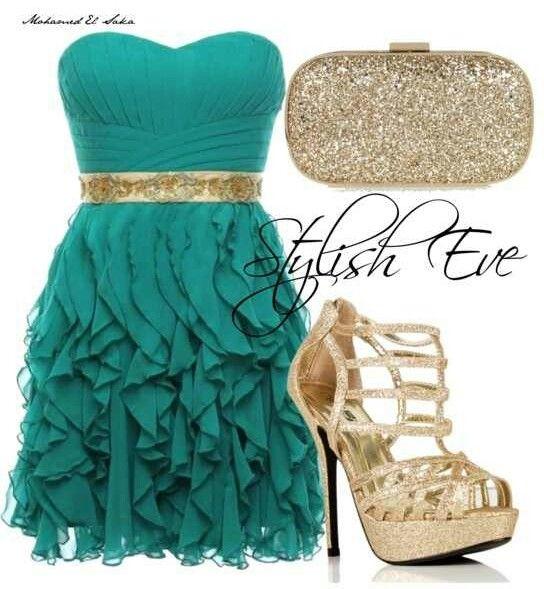 Teal Gold Dress