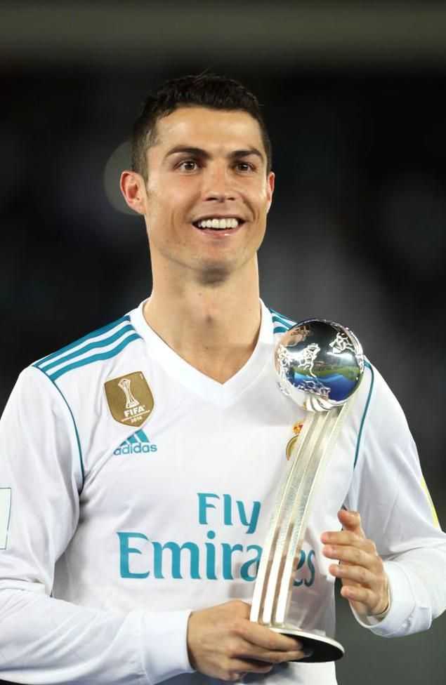 Abu Dhabi United Arab Emirates December 16 Cristiano Ronaldo Of Real Madrid Poses With The Adidas Golden Ball Trophy In 2020 Club World Cup Fifa Cristiano Ronaldo