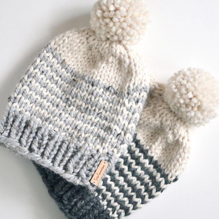 Striped Chunky Beanie // Hand Knitted Beanie With Pom Pom // Chunky Knit Beanie…