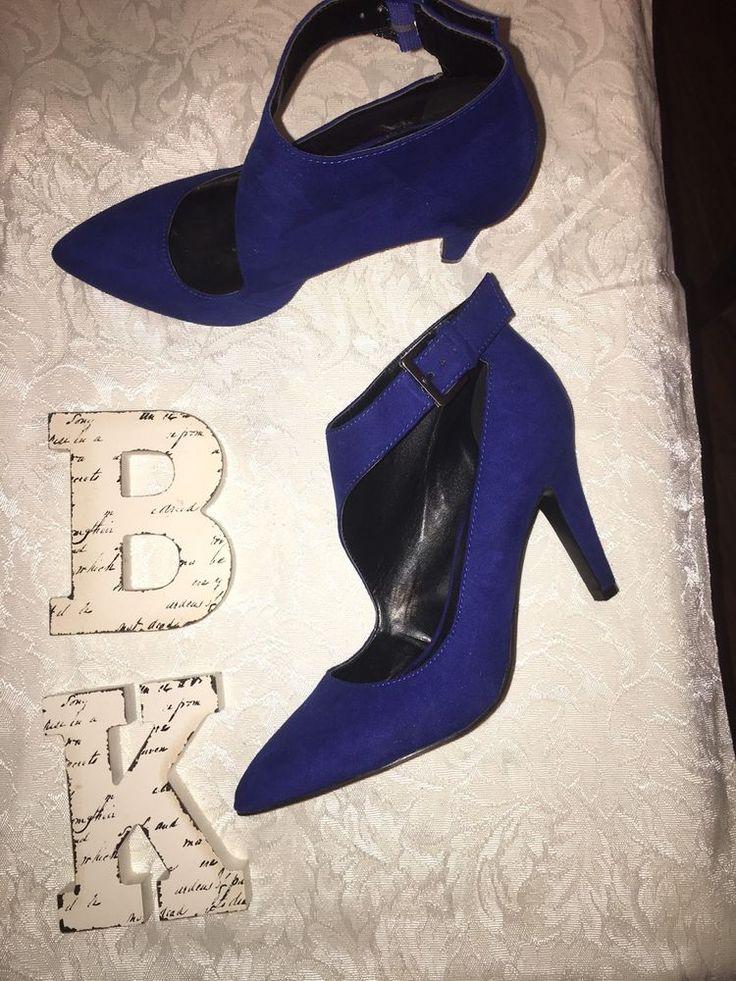 Nine West Faux Suede Blue Heels Sz 8  #NineWest #Stilettos