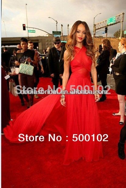 Real Image 55th Grammy Awards Rihanna Red Carpet Dresses A-Line Crisscross Halter Chapel Train Gowns