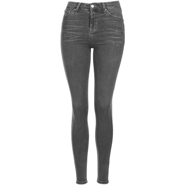 TopShop Moto Grey Jamie Jeans ($56) ❤ liked on Polyvore featuring jeans, grey, button fly jeans, topshop jeans, gray jeans, high waisted jeans and skinny fit jeans
