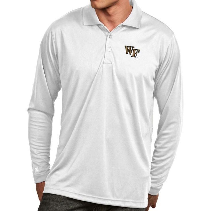 Antigua Men's Wake Forest Demon Deacons White Exceed Long Sleeve Polo, Size: Large, Team