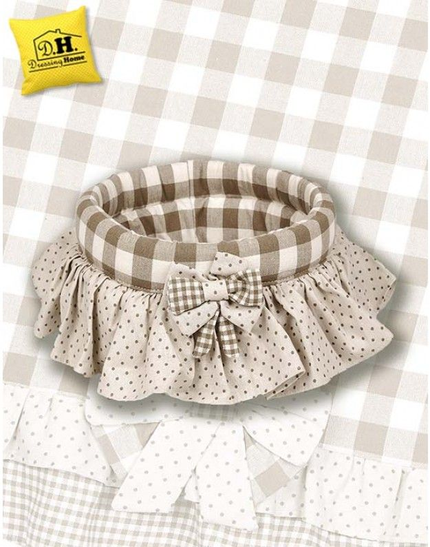 Cestino di stoffa imbottito rotondo Angelica Home & Country Collezione Vichy Fiocchi Beige