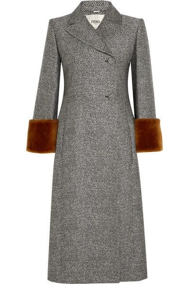 fendi shearling trimmed wool and silk blend jacquard coat