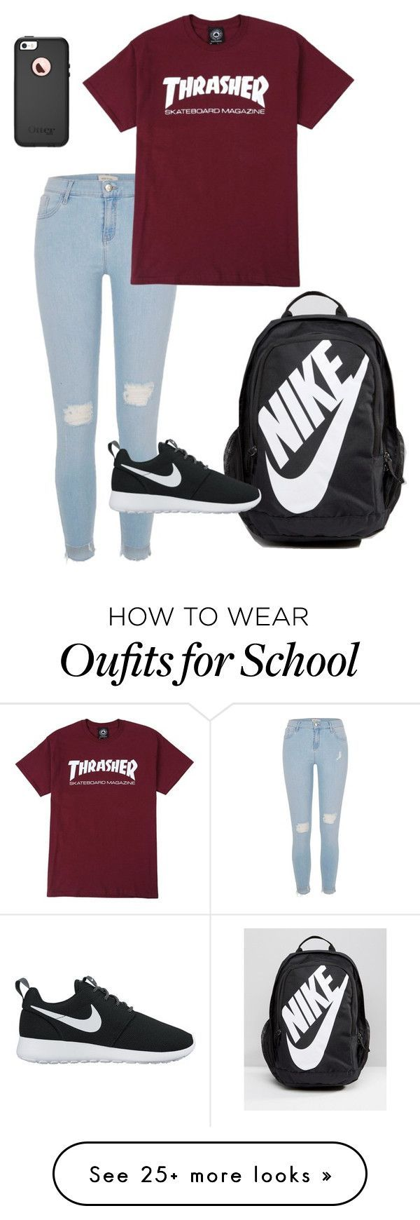 nike shoes school outfit yO by ryleestokess on Polyvore featuring NIKE, River Island and OtterBox