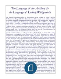 The Language of the Artillery & the Language of Ludwig Wittgenstein