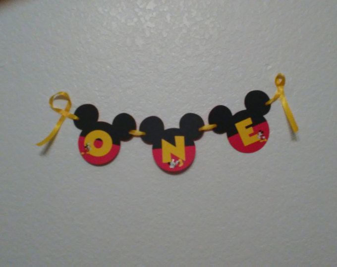 "Silla Mickey Mouse bandera. Mickey Mouse """" UN cumpleaños de Mickey Mouse, bandera bandera"