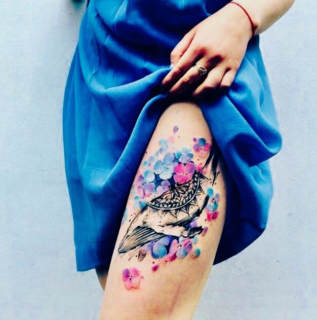Colorful Flower Tattoo On Thigh Tattoos Flower Thigh Tattoos