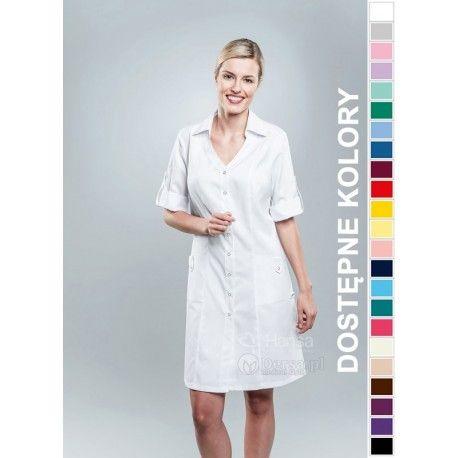 Dobrej jakości i wygodna odzież medyczna, to niezawodny atrybut każdego lekarza, pielęgniarki, czy farmaceutki. | Fartuch medyczny damski Hansa 0042. |