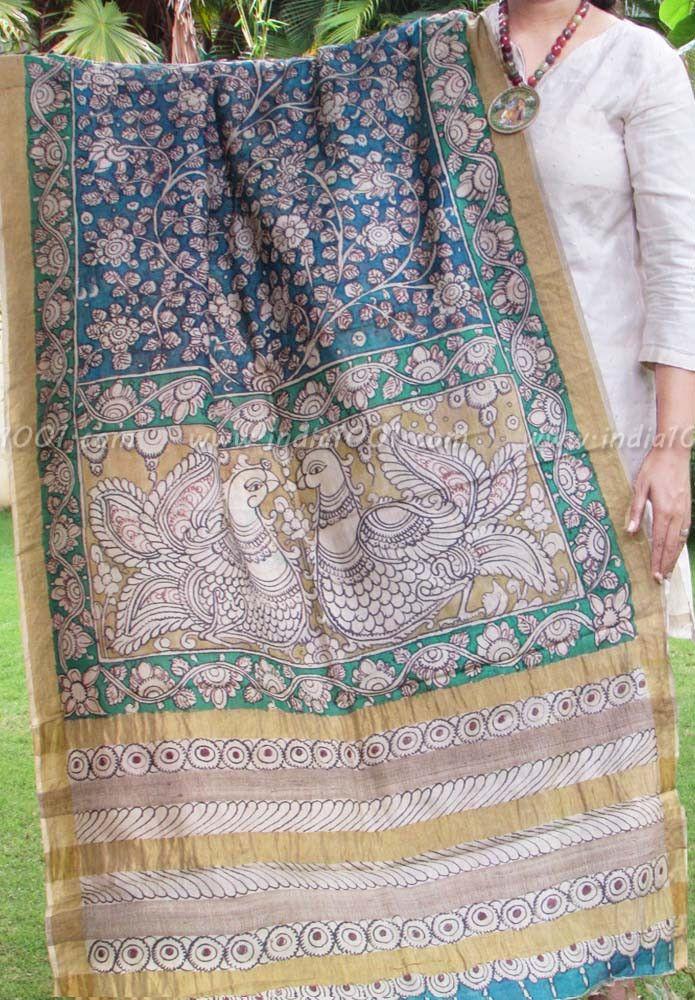 Hand Painted Kalamkari Desi Tussar Silk Dupatta   India1001.com