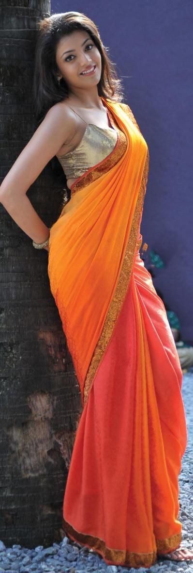 Kajal Agarwal Orange And Pink Shaded Jacquard Saree