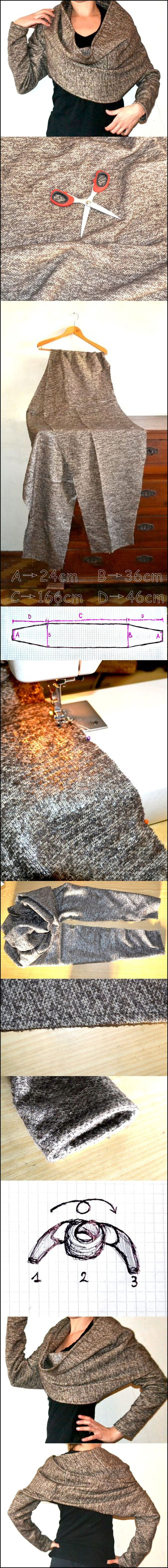 bolero wrap....cute pattern idea for using recycled sweaters or tee shirts