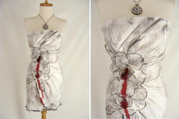 WILMA FLINTSTONE ZOMBIE Costume. Bleeding Rose Flower Dress.