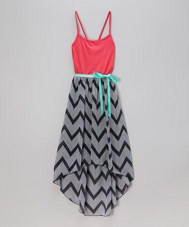 Look what I found on #zulily! Black & Coral Chevron Hi-Low Dress - Girls #zulilyfinds