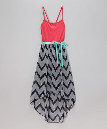 Another great find on #zulily! Black & Coral Chevron Hi-Low Dress - Girls by Zunie & Pinky #zulilyfinds