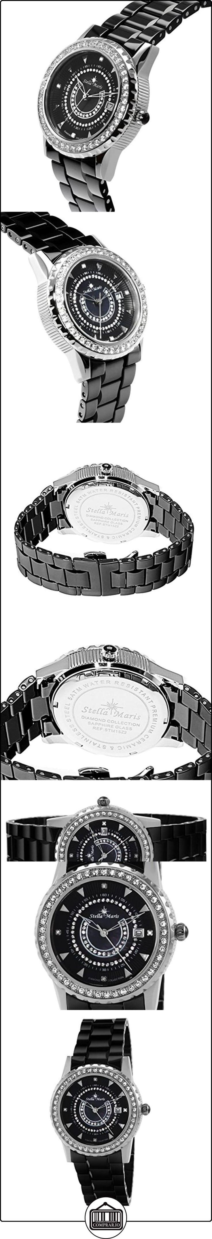 Stella Maris STM15Z2- Reloj pulsera analógico de cuarzo para mujer (con diamantes), correa de cerámica Blanco  ✿ Relojes para mujer - (Gama media/alta) ✿