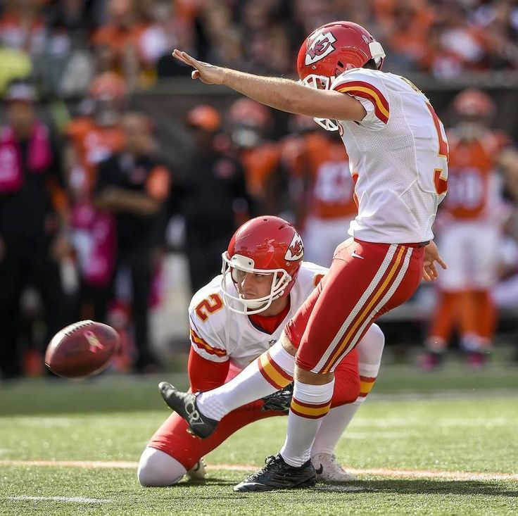 Kansas City Chiefs kicker Cairo Santos (5) connected on his fifth of seventh field goals in the 36-21 loss to the Cincinnati Bengals on Sunday, October 4, 2015 at Paul Brown Stadium in Cincinnati, Ohio. Kansas City Chiefs punter Dustin Colquitt (2) held the snap.