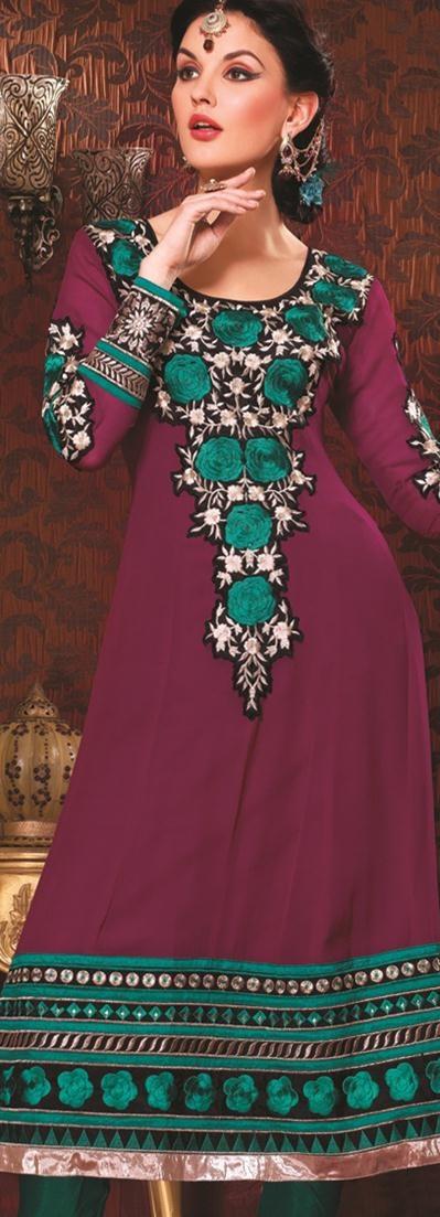 $84.61 Purple Full Sleeve Faux Georgette Long Anarkali Salwar Kameez 20754