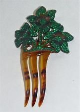 Vintage Faux Tortoise Hair Pick Comb with Emerald Green Stones Flower Design