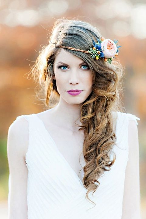 your side swept curla can be easily topped with a fresh flower crown