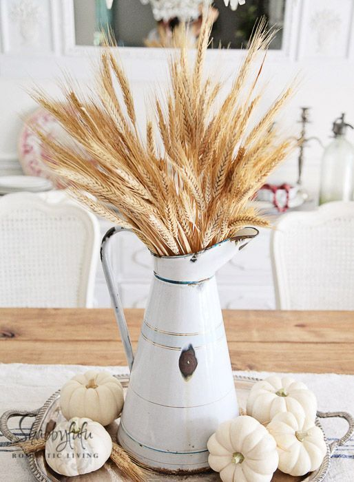 Fall Decorating Ideas Using Nature - Wheat Table Centerpiece with White Pumpkins…