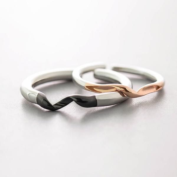 de9a16dac8e9b Winding Design Finger Ring s925 Silver Black and Rose Gold Simple ...