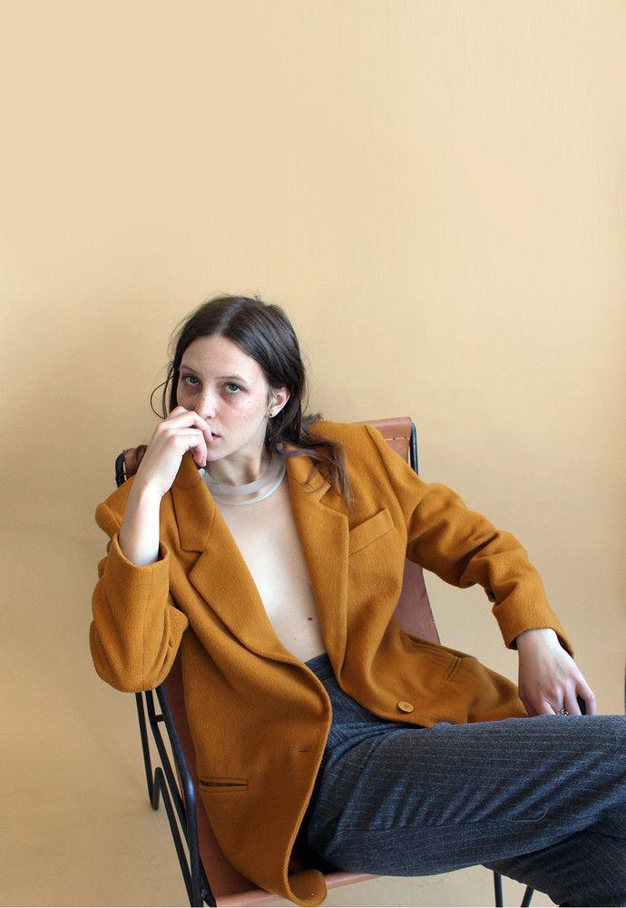 Mustard Blazer Coat Top
