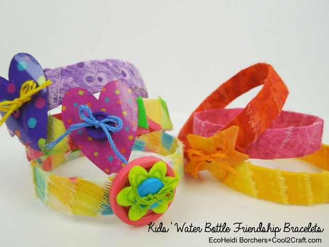 The kids will love these Water Bottle Friendship Bracelets by EcoHeidi Borchers! Summertime crafting fun! Featured on www.cool2craft.com. #diycrafts