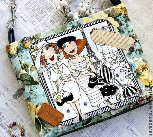 Париж, сумка, сумка через плечо, клатч, отпуск, лето, весна, осень, хлопок, италия, Франция, белый, голубой, желтый, дама, девушка, аппликация, шебби шик, бохо, купить, недорого, работа на заказ, черно-белый, ретро, винтаж, тедди, кукла, подарок, деним, натуральные камни, гематит, черный, цветы, розы