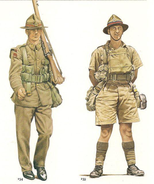 Nº 154.- Private ,New Zealand Army,1940.-. Nº 155.- Gunner