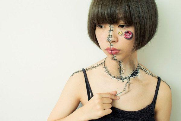 Необычный бодиарт от японской художницы арт, Бодиарт, художество, не мое, Искусство, длиннопост, жесть