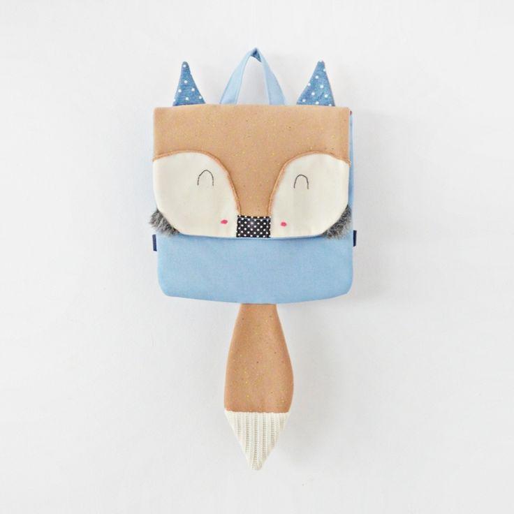 Sklep internetowy Lady Stump | Plecak Mały Lis #backpack #plecak #fox #blue #handmade #kids #school #gift #kidsdesign #ladystump #poland #red #forest #animal #bag