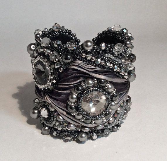 Bead Embroidered Cuff Bracelet Gray Swarovski by ReneGibson, $230.00