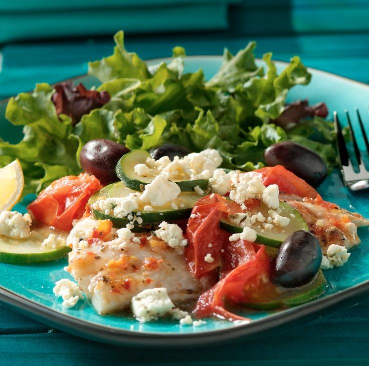 Mediterranean Microwaved Fish for Two with ATHENOS feta #cod #tomatoes #zucchini #olives #oregano #lemon