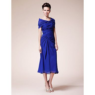Sheath/Column+V-neck+Tea-length+Chiffon+Mother+of+the+Bride+Dress+With+A+Wrap+–+AUD+$+117.58