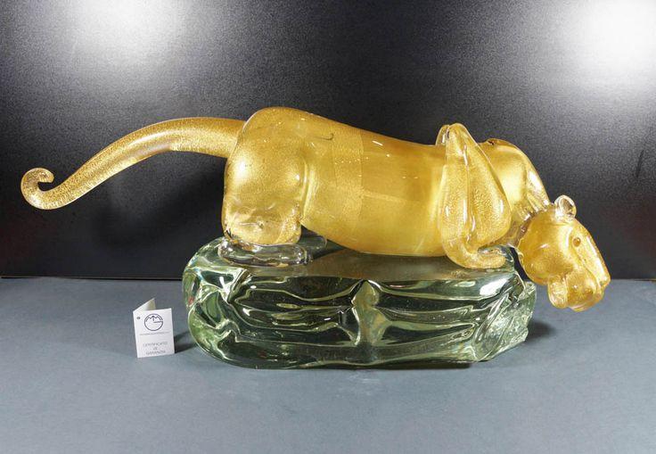 #Golden #Panther in #Murano #Glass. --- #Pantera tutta #oro in #vetro di #Murano.