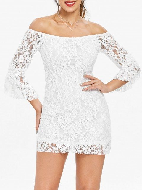 dc4f758f3e80d1 Off-The-Shoulder Sexy Boat Neck Solid Color Trumpet Sleeve Women's Lace  Dress - WHITE M Style: Sexy & Club Material: Lace Silhouette: Straight  Dresses ...